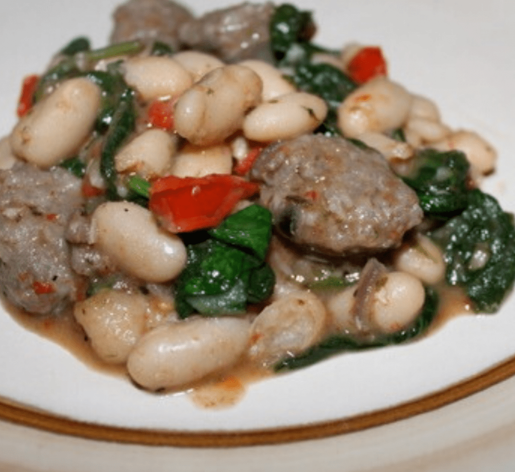 Plated Italian Sausage & White Bean dinner