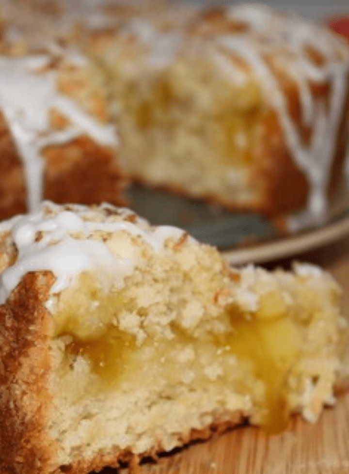 Lemon coffee cake with a close-up slice