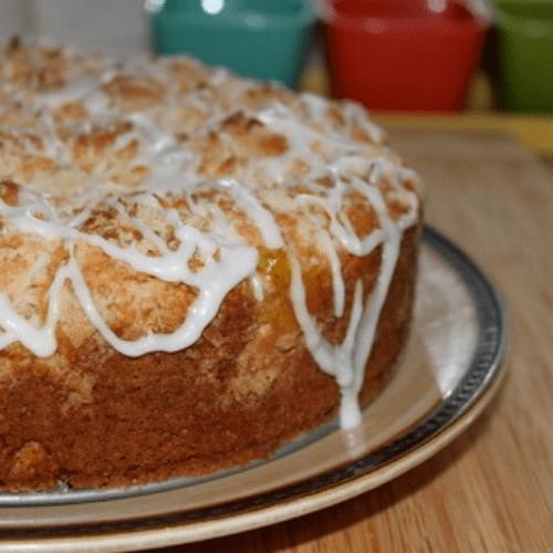 Finished lemon coffee cake on a platter