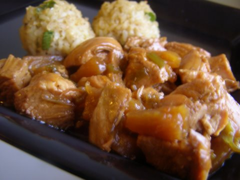 Serving of pineapple chicken on a plate
