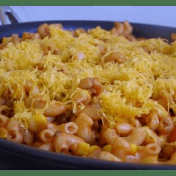 Taco Macaroni skillet before plating